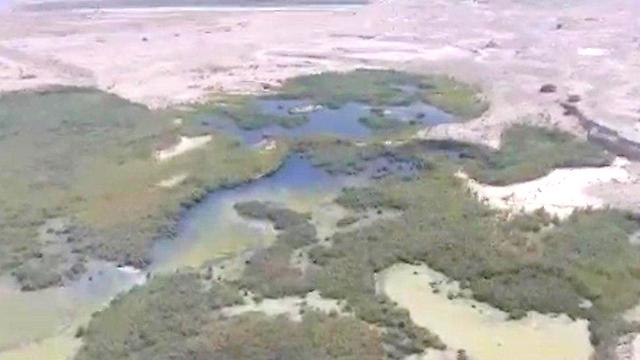 הזיהום בנחל אשלים - מבט מהאוויר (צילום: אריה רוזנברג רשות הטבע והגנים) (צילום: אריה רוזנברג רשות הטבע והגנים)