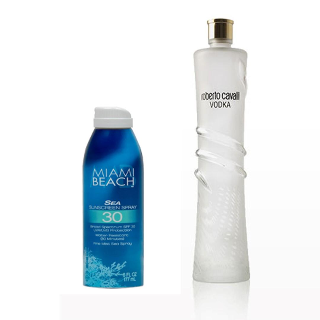 """בתמונה בקבוק וודקה של רוברטו קוואלי ולצידו ספריי הגנה מהשמש של מיאמי ביץ' בקבוק בצבע כחול (צילום: יח""""צ)"""