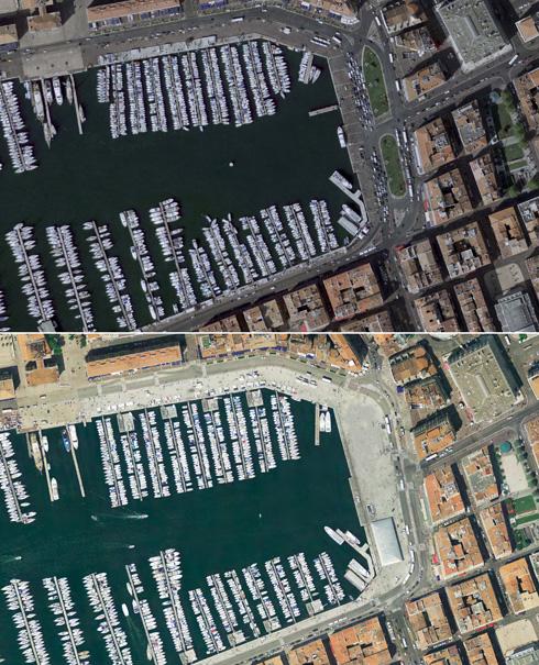 נמל מרסיי - לפני ואחרי: ערוגות הצמחייה (בצילום העליון) הוסרו. המתכננים ביקשו ליצור אזור קשיח, מחוספס, שמתאים לאופיו של נמל   (צילום: Foster + Partners)
