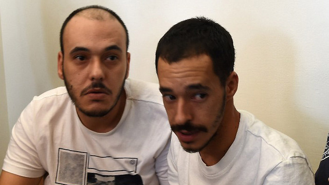 החשודים בהארכת מעצרם (צילום: חיים הורנשטיין) (צילום: חיים הורנשטיין)