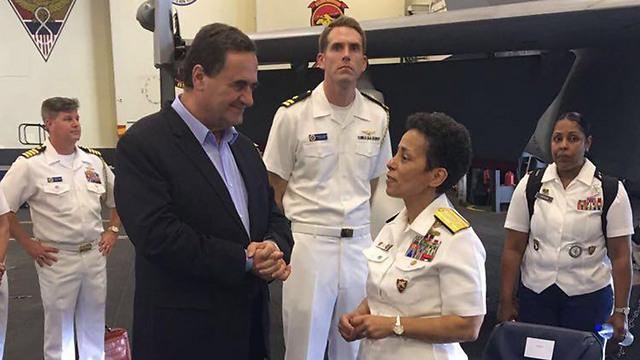 Transportation Min. Yisrael Katz with Admiral Michelle Howard