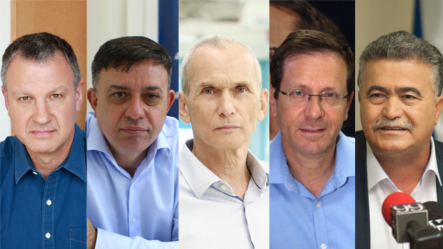 Left to right: Erel Margalit, Avi Gabby, Omer Bar-Lev, Isaac Herzog, Amir Peretz (Photos: Yoav Dudkevitch, Yariv Katz, Abigail Uzi, Dana Kopel)