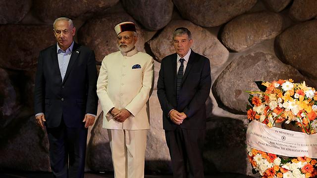 Netanyahu and Modi visit Yad Vashem (Photo: AP)