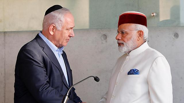 Netanyahu and Modi visit Yad Vashem (Photo: EPA)