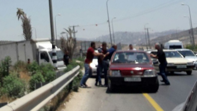 Photo taken by Sukkot purporting to depict Palestinians kidnapping a man