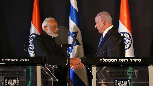 פגישת ראש ממשלת ישראל והודו (צילום: אוהד צויגנברג)