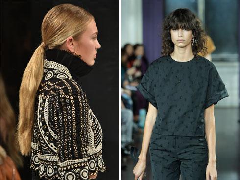 """""""הכול תלוי בלוק הכללי שהמעצב רוצה לייצר על המסלול"""". עיצובי שיער של מרג'אן בתצוגות של ג'ייסון וו (מימין) וג'ונתן שמחאי (צילום: Gettyimages)"""