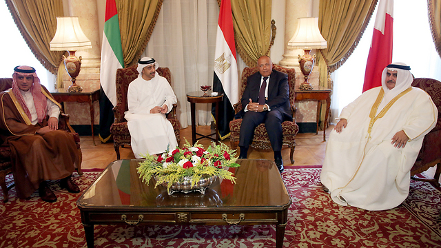 Foreign ministers of Egypt, UAE, Baharain and Saudi Arabia meet in Cairo (Photo: Reuters) (Photo: Reuters)