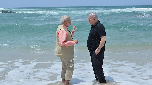 Indian Prime Minister Narendra Modi with PM Netanyahu during visit to Israel (Photo: Kobi Gideon/GPO)