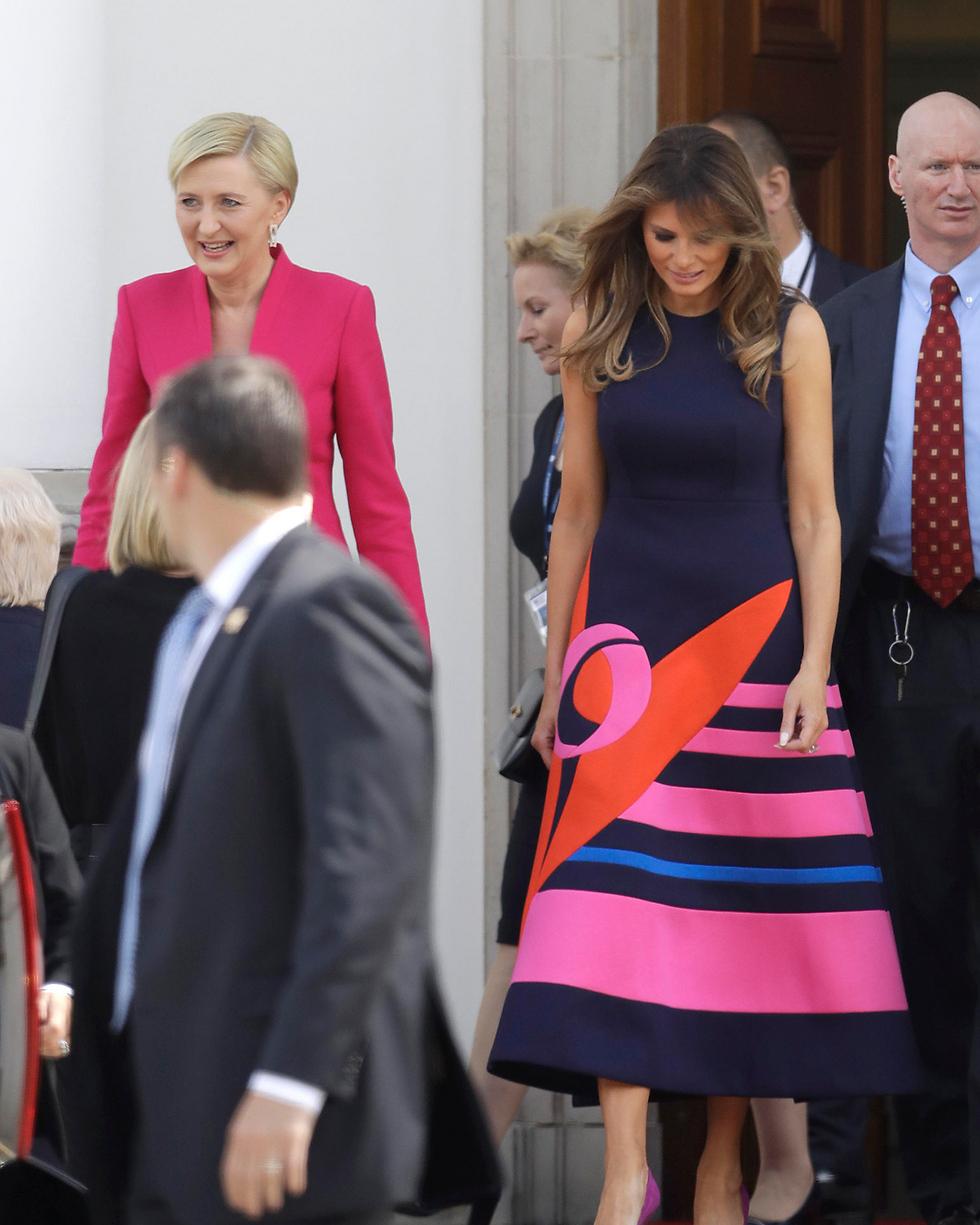 מלניה טראמפ עם הגברת הראשונה של פולין, אגתה קורנהאוזר דודה (צילום: AP) (צילום: AP)