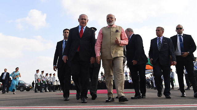 Netanyahu and Modi during the Indian PM's visit to Israel in July (Photo: Shaul Golan)