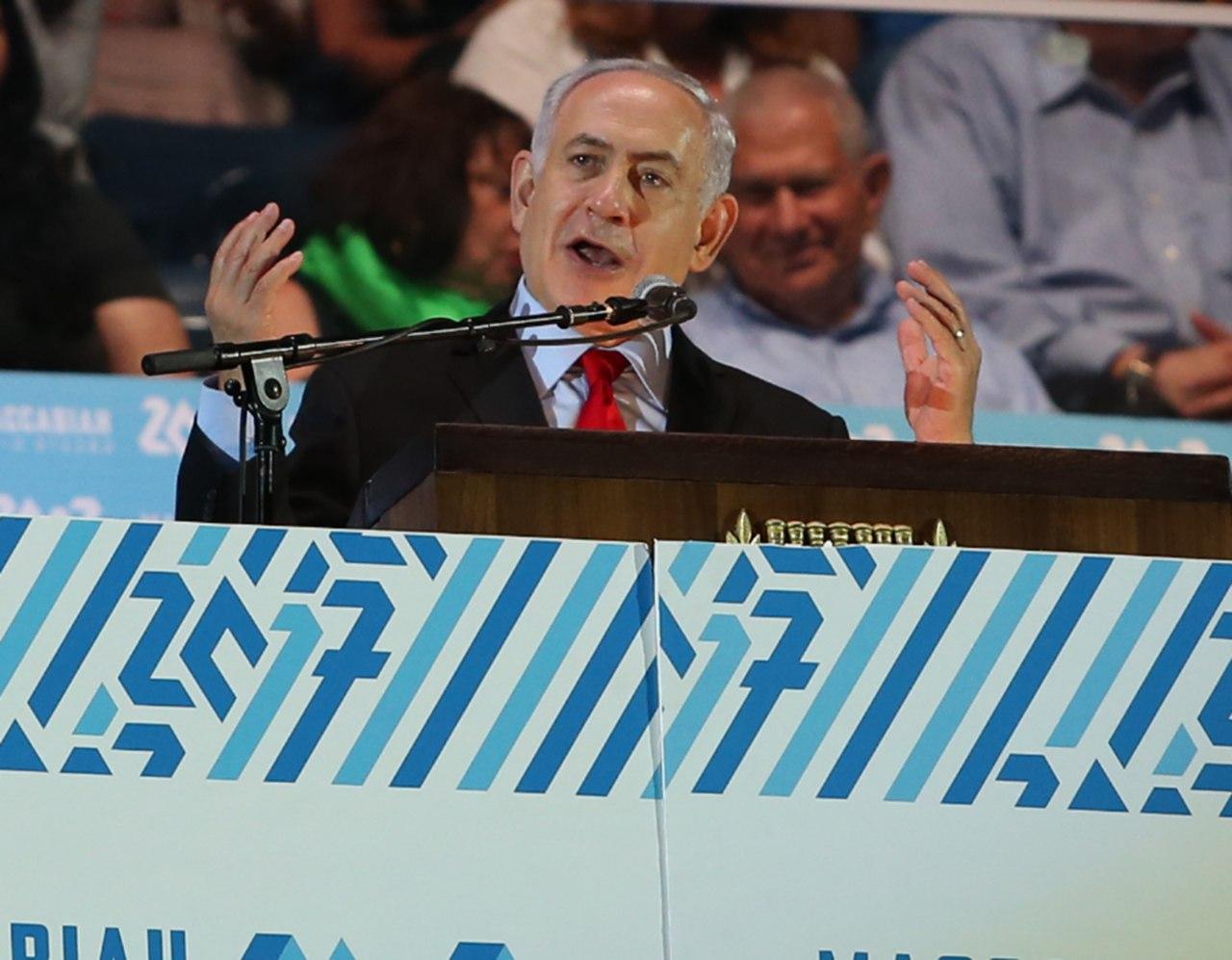 נתניהו במהלך הנאום (צילום: אורן אהרוני)