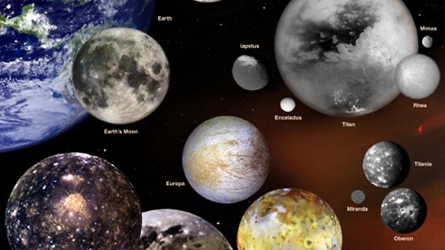 """כמה מהירחים במערכת השמש שלנו (הדמיה: נאס""""א)"""