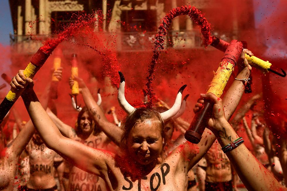 מפגינים נגד מלחמות פרים בפמפלונה, צפון ספרד (צילום: AP) (צילום: AP)