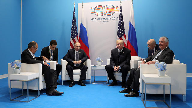 US-Russia meeting at G20, with Lavrov in the far left and Tillerson in the far right (Photo: Reuters)