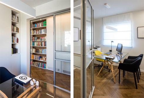מימין: הכניסה לחדר העבודה. משמאל: מבט מתוכו אל המסדרון, שבו שולבו ספרייה וארון גדול (צילום: עמית גרון)