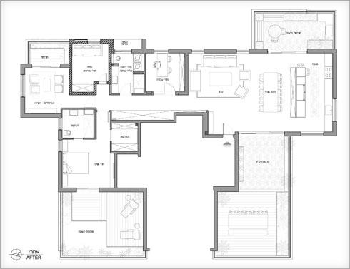 תוכנית הדירה לאחר השיפוץ (תוכנית: פנינית שרת אזולאי)