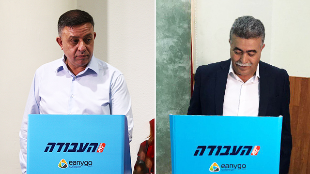 Avi Gabbay (L) and Amir Peretz (Photo: Ohad Zwigenberg and Gadi Kabalo)