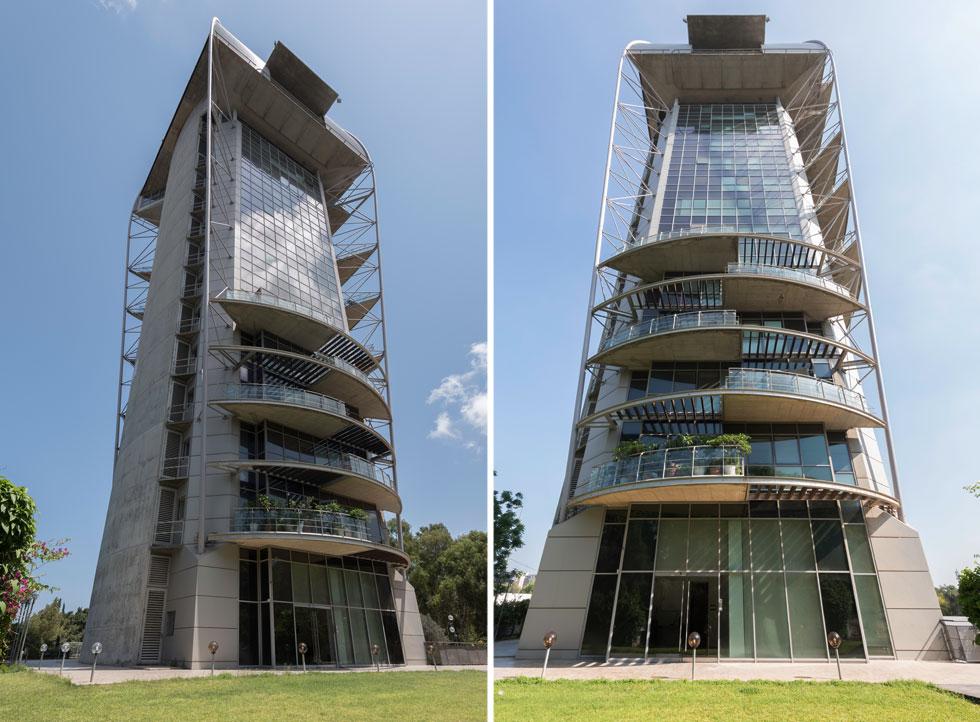 אך בניגוד לרוב מגדלי היוקרה, כאן לא מסתגרים מאחורי גדרות וחומות עם גינה פרטית. המגדל פתוח לפארק הציבורי, ומתנשא לגובה 16 קומות (כ-70 מטר) (צילום: ליאור גרונדמן)