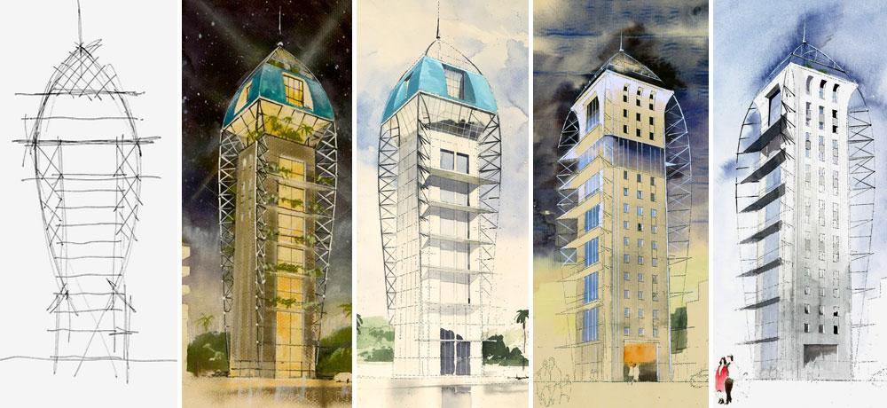 גלגוליו של המגדל, כפי שראה אותו האדריכל אילן פיבקו בדמיונו. רצה להתנתק מבנייני ה-H הסטנדרטיים וליצור פורמט של דירה בכל קומה