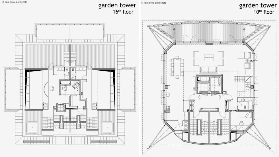 הדירות משתרעות על פני 200 עד 600 מ''ר, כשהגדולות ביותר נמצאות בקומות העליונות, ולכן צורת הפטרייה