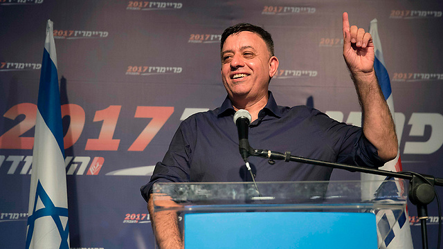 Gabbay giving his victory speech (Photo: AFP)