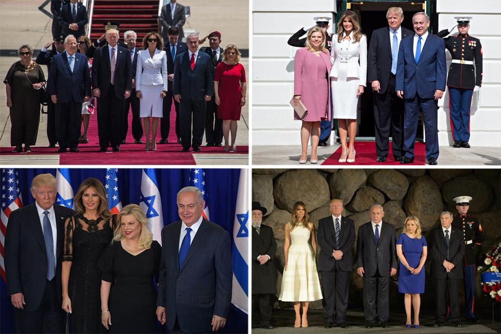 """כהן ליווה את שרה נתניהו בבחירת הסגנון לכל המפגשים עם הזוג טראמפ. """"עבור ייעוץ, סטיילינג ומדידות לא היה תשלום, זה היה בהתנדבות. עשיתי את זה מתוך אידיאולוגיה למען ארץ ישראל. היה לי חשוב שהגברת הראשונה תמנף את מעמדה בארץ ובעולם, ותיראה נפלא, ולקחתי על עצמי את הפרויקט הזה באופן אישי"""" (צילום: Gettyimages, AFP)"""
