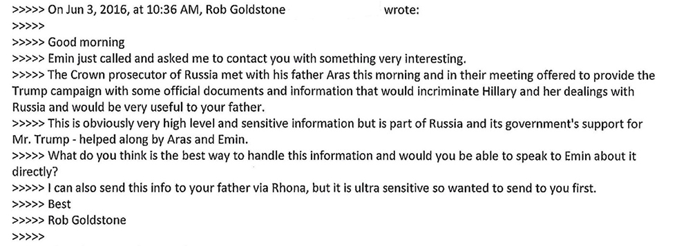 One of the emails Goldstone sent Trump Jr. (Photo: Reuters)