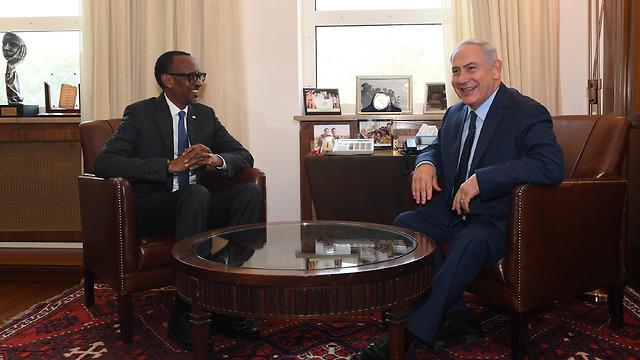 Prime Minister Benjamin Netanyahu and Rwandan President Paul Kagame (Photo: Kobi Gideon/GPO)