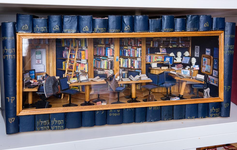 כרכים של מילון אבן שושן, שאיבדו רלוונטיות בעידן הדיגיטלי, הפכו לכלי הקיבול של ספרייה זעירה (צילום: ענבל מרמרי)