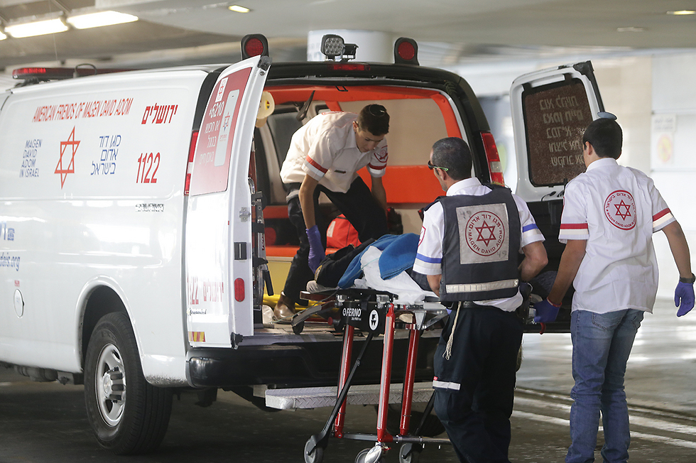 Wounded taken to the Hadassah Medical Center (Photo: Alex Kolomoisky)