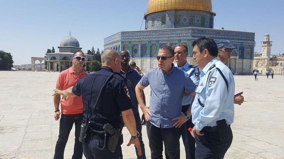 Minister Erdan at the Temple Mount after the terror attack there