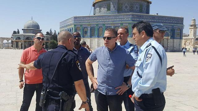 Minister Erdan at the Temple Mount following the attack