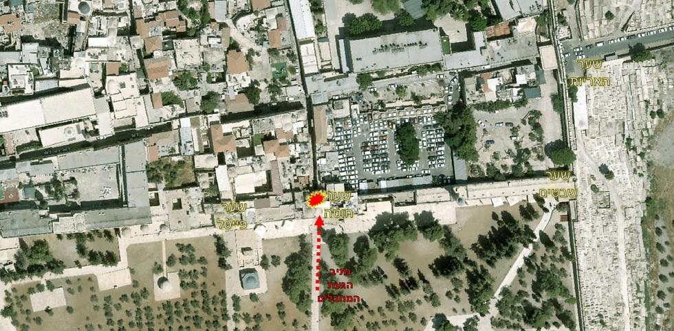 נתיב הגעת המחבלים (צילום: דוברות המשטרה) (צילום: דוברות המשטרה)
