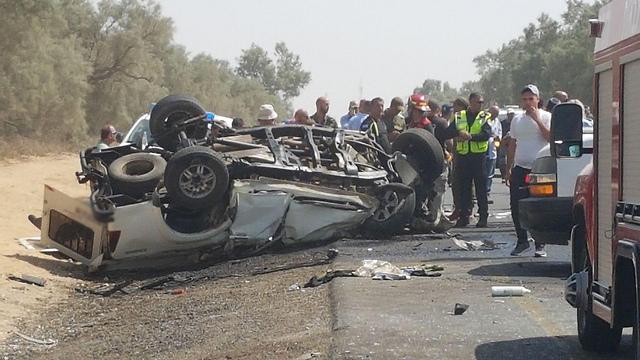 זירת התאונה במועצה האזורית אשכול (צילום: בראל אפרים)