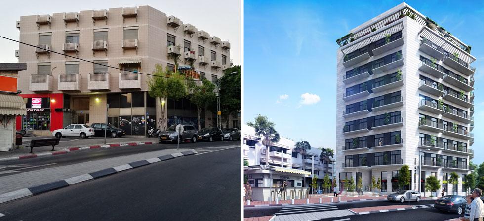 """האדריכל שמעון מרמלשטיין תכנן את הבניין המקורי ברחוב הרצל 105 (משמאל) ואת השינוי העתידי שלא יותיר ממנו זכר. """"אתה מלך השכונה"""", אמרתי לו. """"נסיך"""", השיב לי, """"כי את המלך הורגים"""" (הדמיה: 3Ddesign, צילום: ציפה קמפינסקי)"""