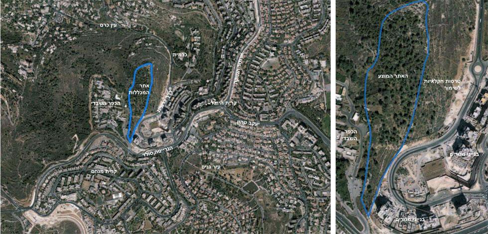 תצלום אוויר של האזור. ''אני יכול להבין את הביקורת'', אומר האדריכל הזוכה, ''אבל האזור הוא שטח חום שמיועד לשטחי ציבור'' (צילום: מתוך mod.gov.il)