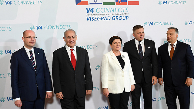 Netanyahu with the leaders of Hungary, Poland, the Czech Republic and Slovenia (Photo: Haim Tzah, GPO)