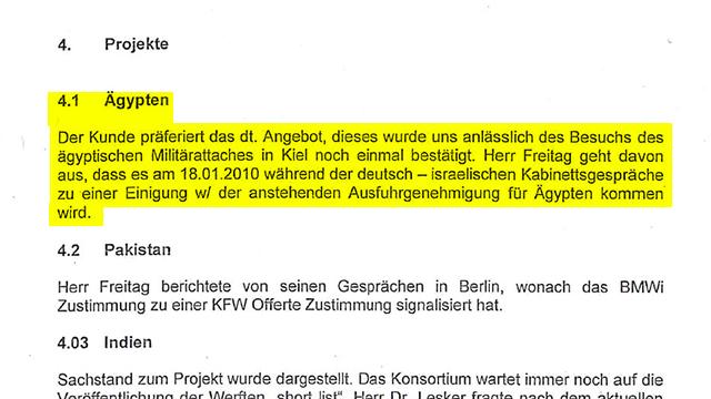המסמך הפנימי של תאגיד טיסנקרופ המתייחס לאישור האמור להתקבל על מכירת הצוללות למצרים ()