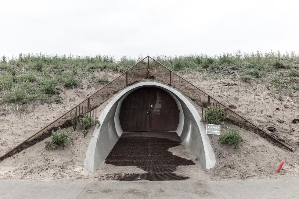 חפור באדמה. לאחר שארבע הגלריות נחפרו באדמה, כיסו את גג המוזיאון בחול ים (צילום: Rasmus Hjortshoj, Big)