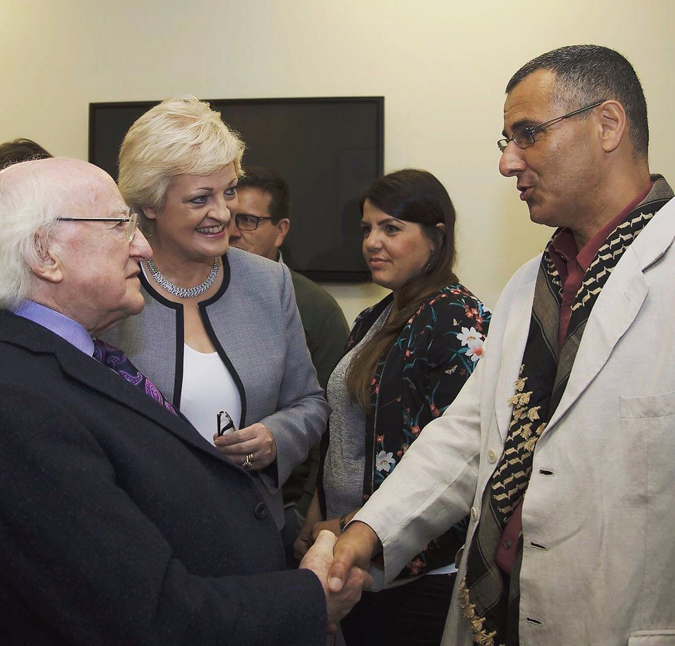 Irish President Michael D. Higgins meets with BDS Founder and Director Omar Barghouti (Photo: BDS)