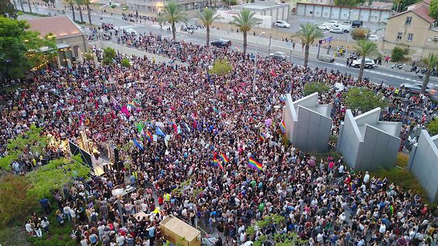 """המחאה בעקבות דברי משרד הרווחה על משפחות להט""""ביות (צילום: עומר שלו) (צילום: עומר שלו)"""