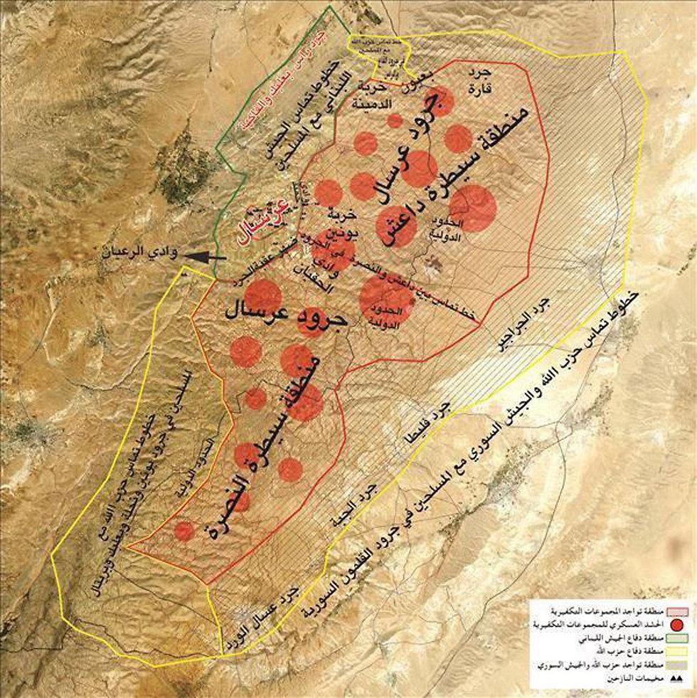 מפת האזור: ריכוזי החמושים מסומנים אדום