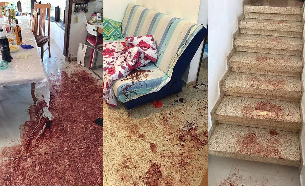 """כתמי הדם בבית שבו רצח המחבל שלושה בני משפחה (צילום: דובר צה""""ל) (צילום: דובר צה"""