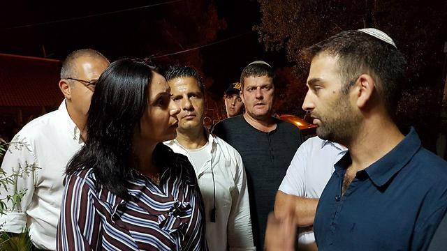 Minister Regev visits Halamish following terror attack, calling Shin Bet's claims 'delusional' (Photo: TPS)