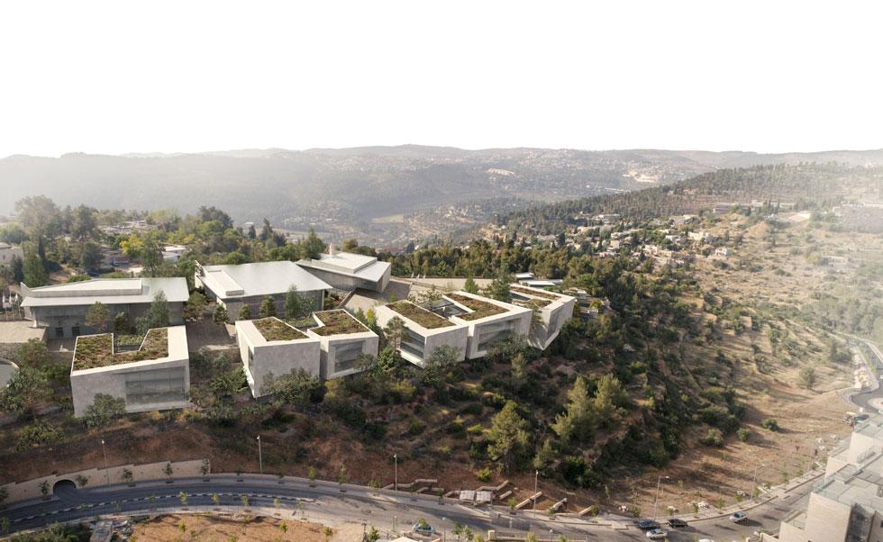 ההצעה הזוכה בתחרות, של ''אליקים אדריכלים''. המבנים מחופים באבן ומציעים מבט פתוח לנוף, למאות החניכים ואנשי הסגל (הדמיה: אגף ההנדסה והבינוי במשרד הביטחון)