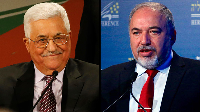 Mahmoud Abbas and Avigdor Lieberman (Photo: AFP, Motti Kimchi)