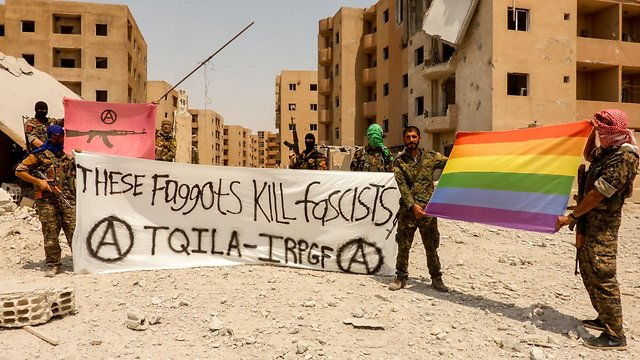 Gay Syrian activists mock the homophobic ISIS terror group (Photo: Twitter)