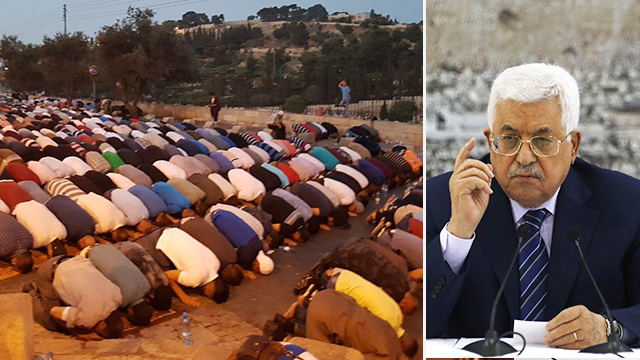 Mahmoud Abbas and Muslims praying at the al-Aqsa mosque (Photo: Yael Friedson, AFP)
