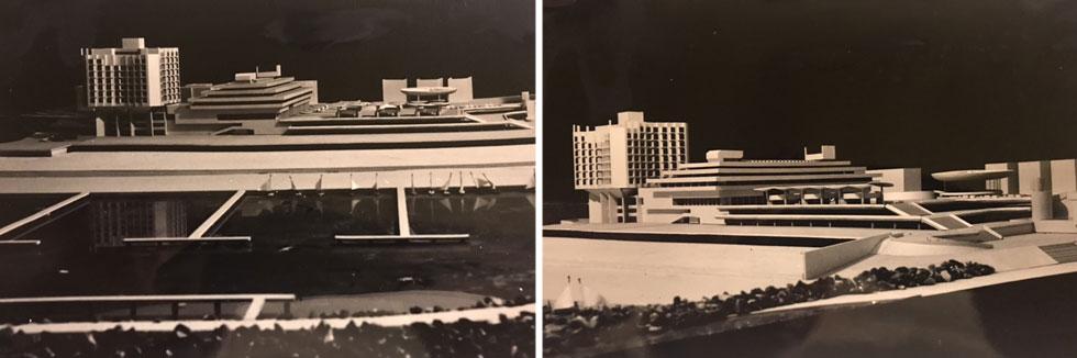 רכטר מציע להגביה את הכיכר במפלס נוסף, ואם בכלל לאשר מגדלים, אז רק בחלק הצפוני של הכיכר (היכן שנמצא מלון ''מרינה'') (מודלים: באדיבות ארכיון משרד רכטר אדריכלים)